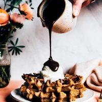 Gluten-Free Fluffy Waffle Recipe! With Tahini Hot Fudge For Dessert