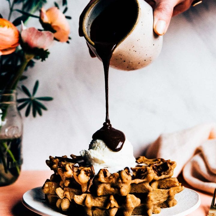 Fluffy Waffle Recipe -- gluten free waffle recipe, hot fudge photo