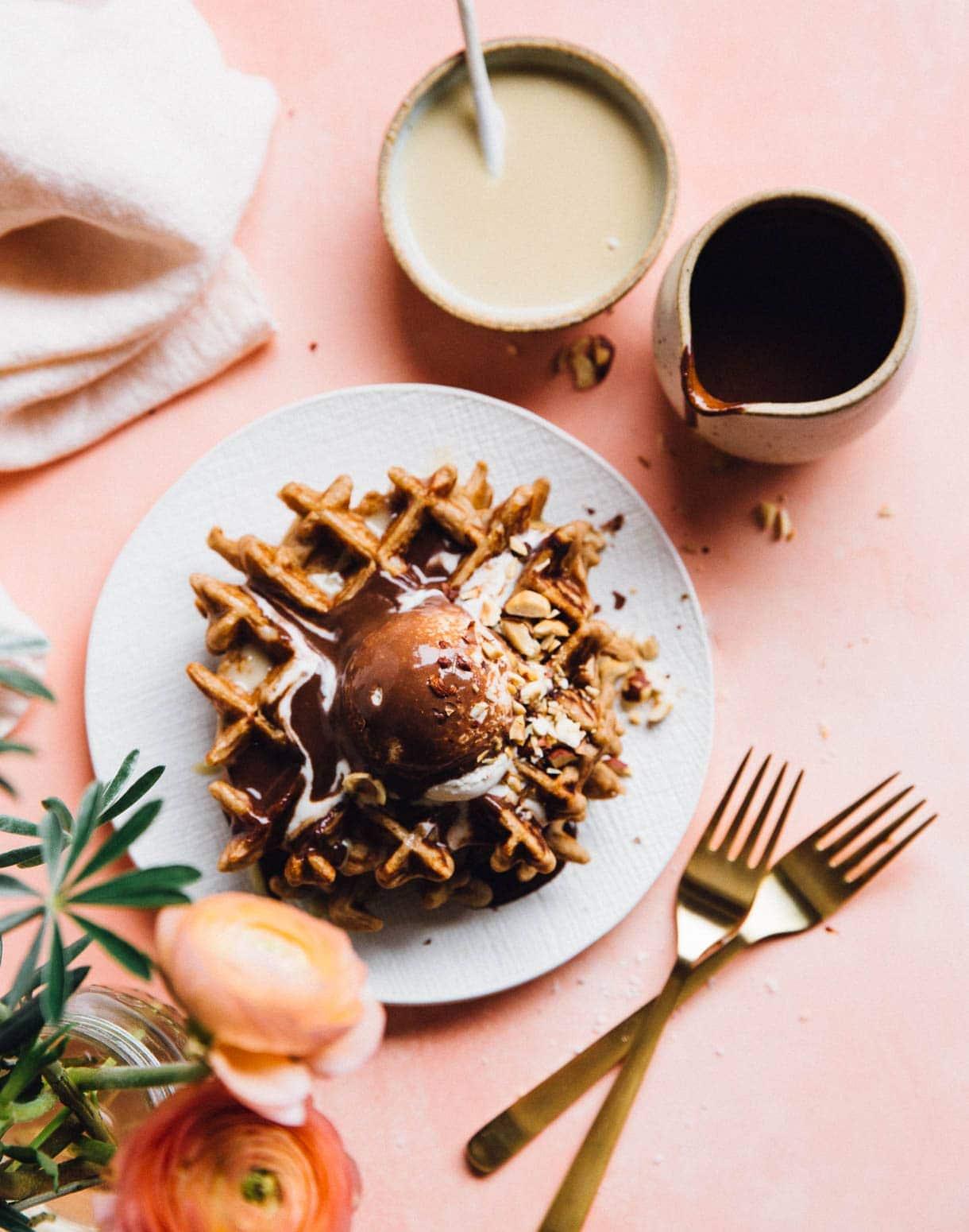 Fluffy Waffle Recipe, as an Ice Cream Sundae