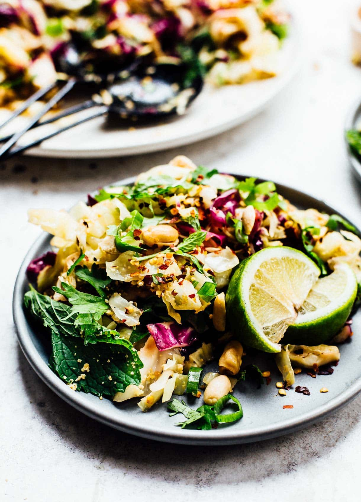 Grilled Asian Cabbage Salad with fresh herbs