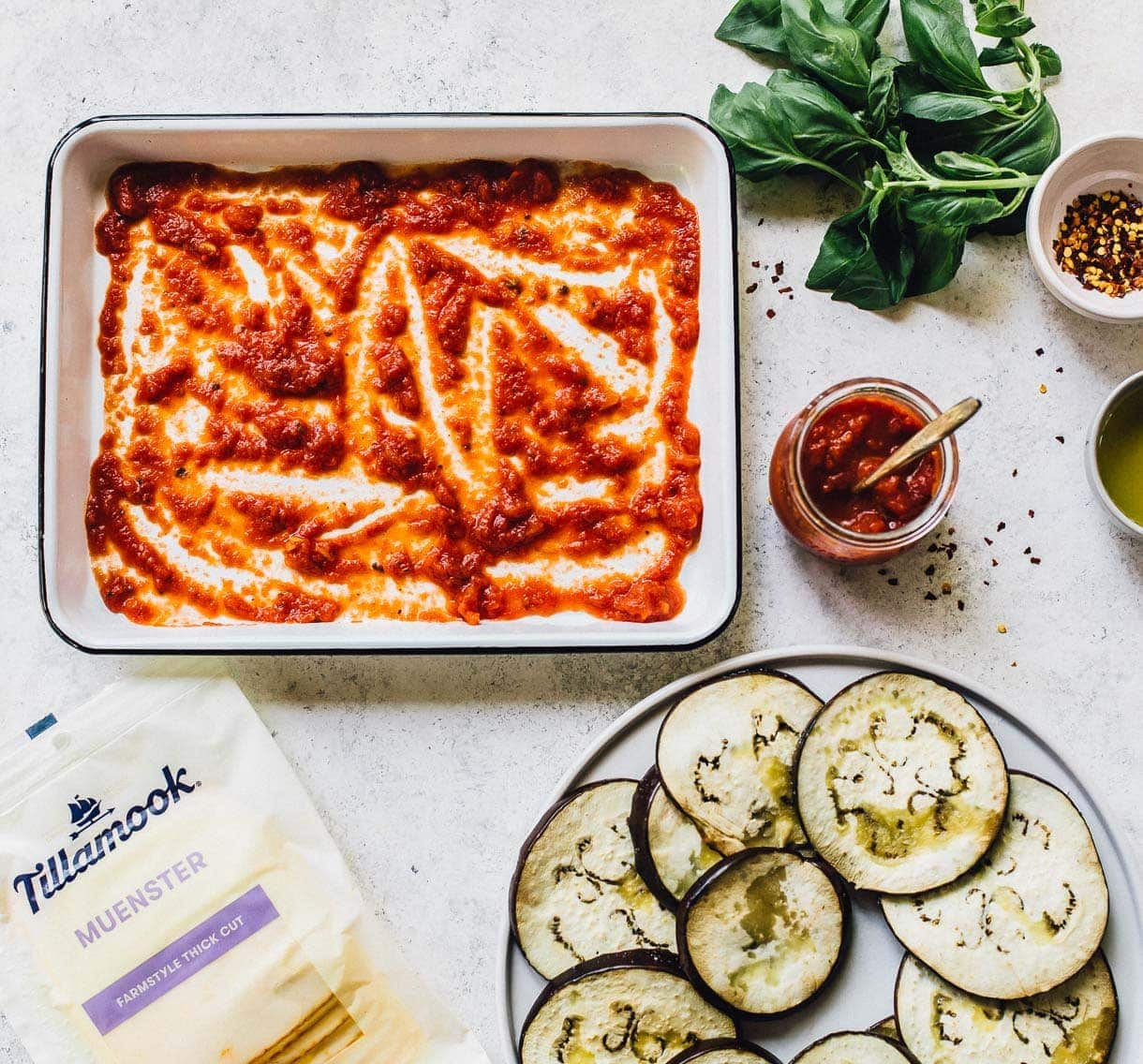 Ingredients for Cheesy Baked Eggplant Slices