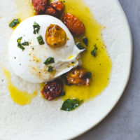 Burrata Cheese with Slow Roasted Cherry Tomatoes and Olive Oil