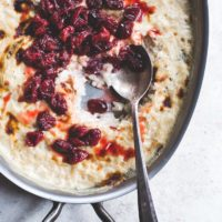 Effortless Vanilla Bean Rice Pudding with Saucy Tart Cherries