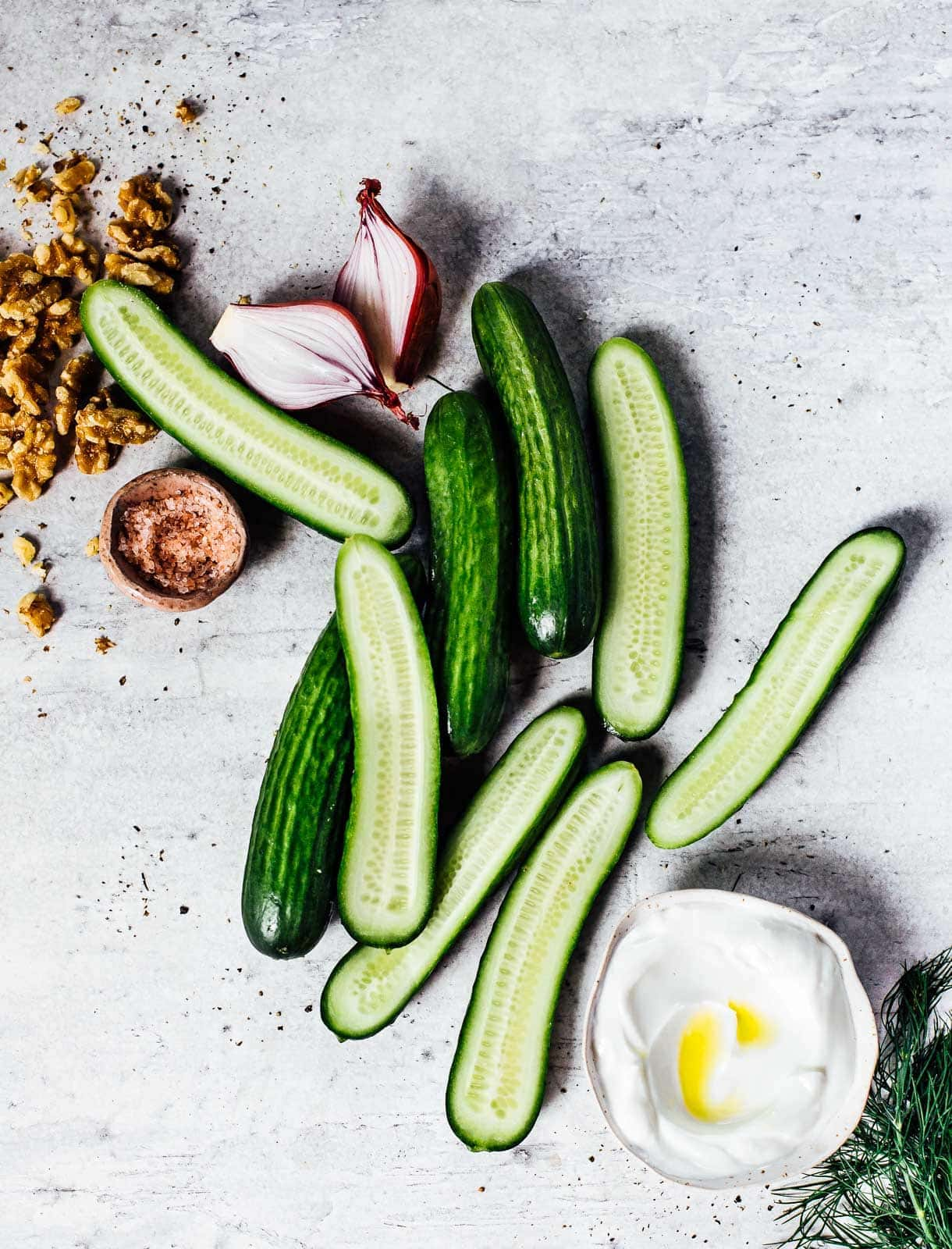 Smashed Cucumber Salad Ingredients, with toasted walnuts and greek yogurt