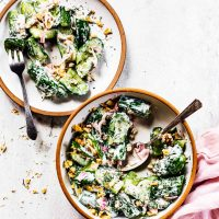 Smashed Cucumber Yogurt Salad with Toasted Walnuts