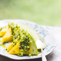 Yellow Watermelon Salad with Pickled Cucumber Ginger Relish