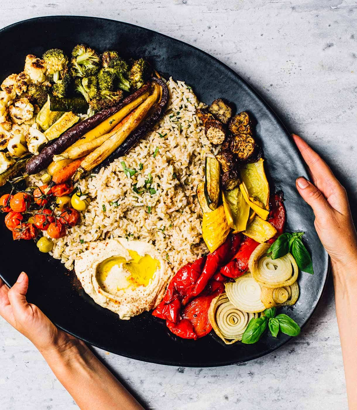 Hummus Platter with Roasted Vegetables and Rice