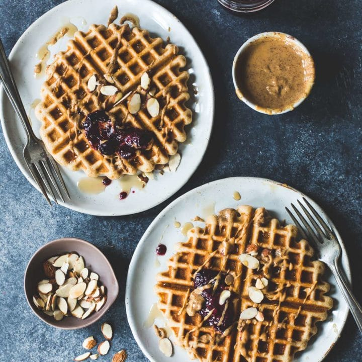 Brown Rice Flour Waffles with Almond Butter & Jam