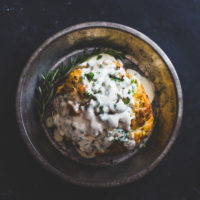 Whole Roasted Cauliflower with Fontina Cheese Sauce