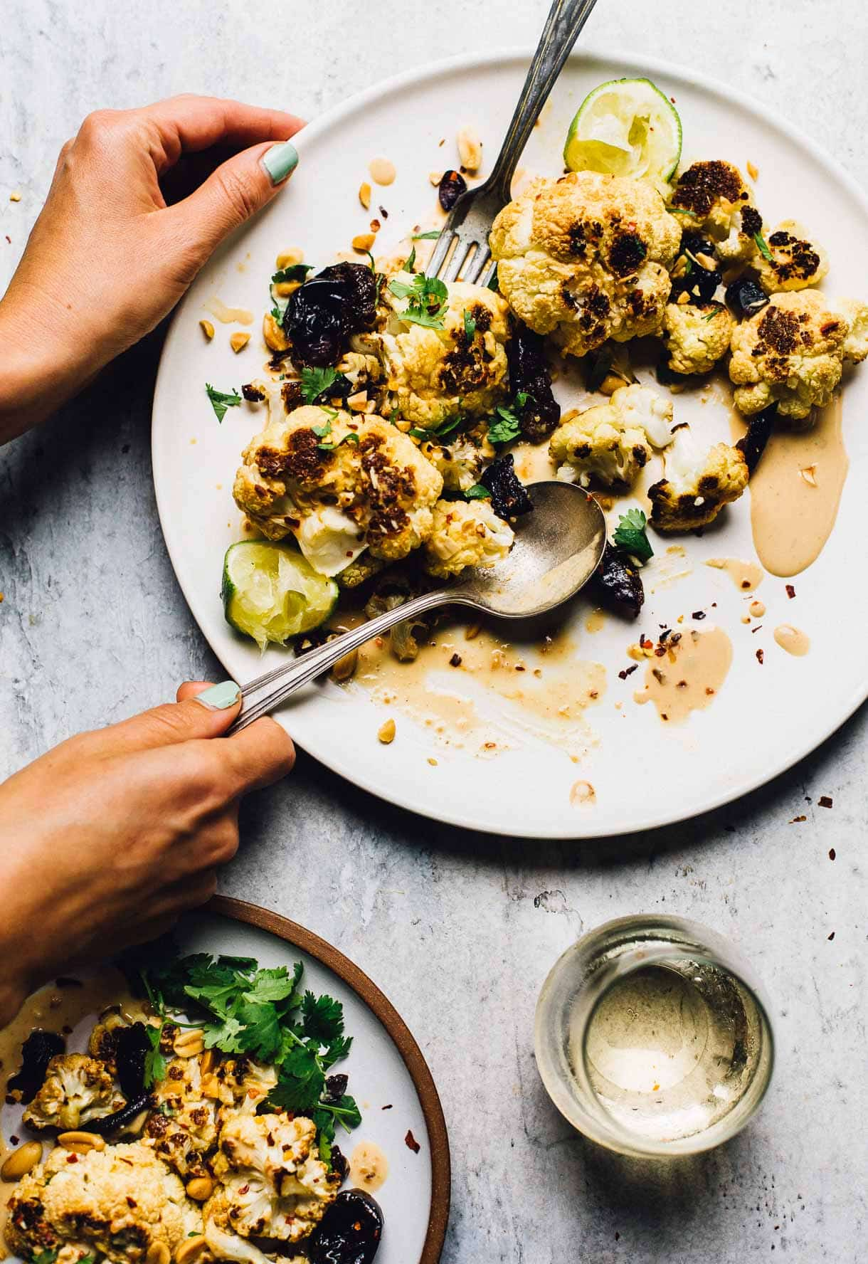 Sweet and Spicy Roasted Cauliflower with Prunes