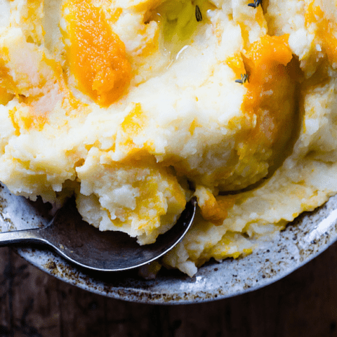 Pumpkin Swirled Mashed Potatoes