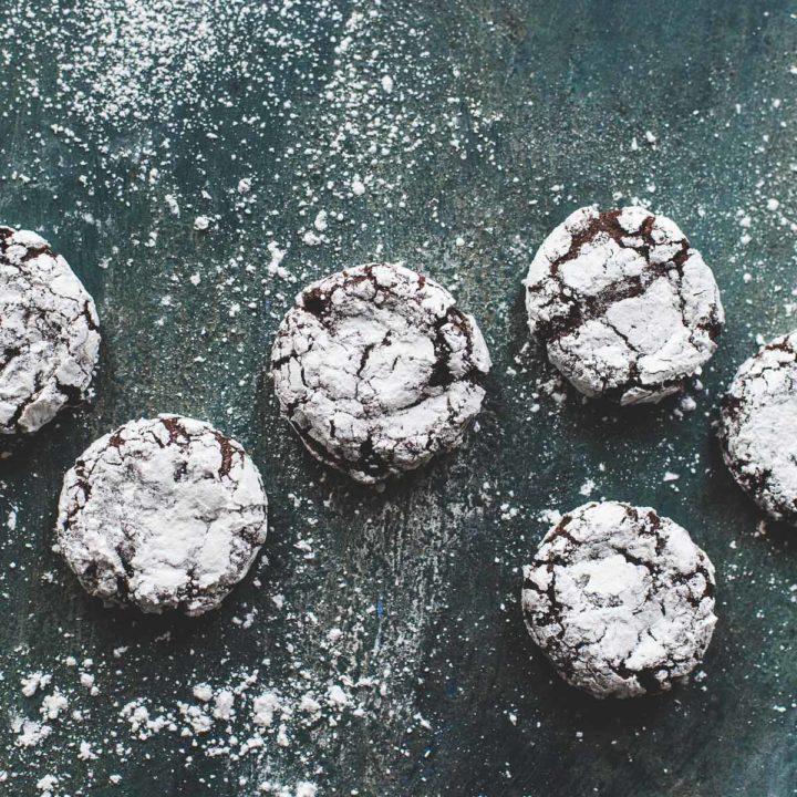 Peppermint Chocolate Gluten-Free Crinkle Cookies