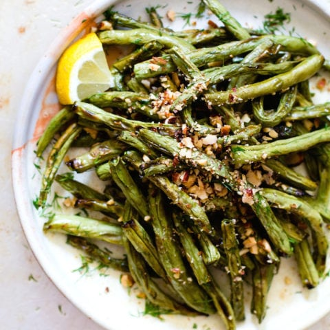 Blistered Green Beans with Crushed Almonds
