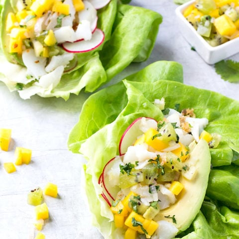 Fish Taco Lettuce Wraps with Mango Kiwi Salsa {AIP, Paleo}