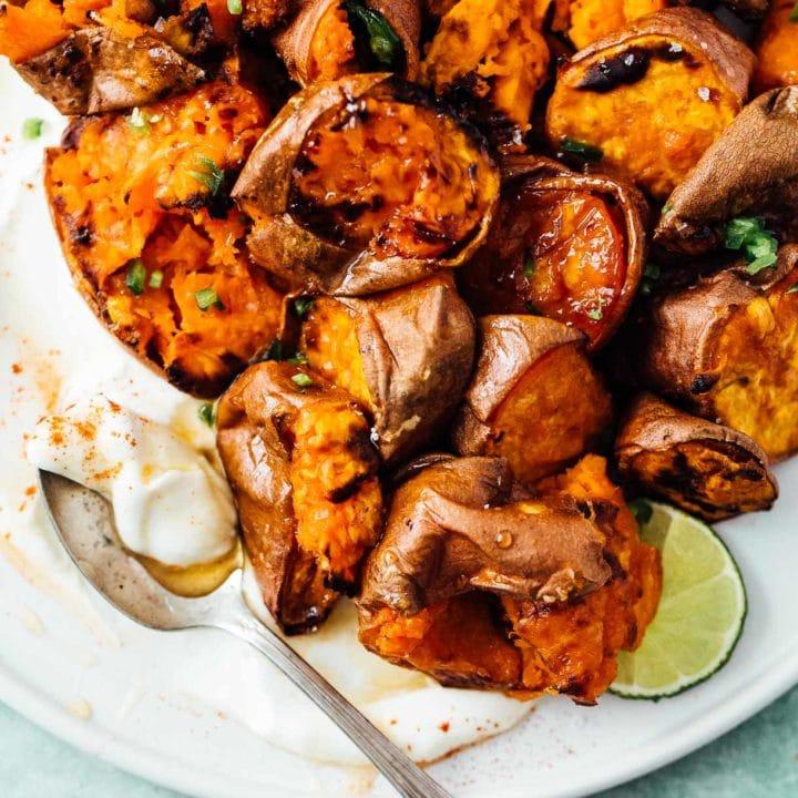 Hot Honey Smashed Sweet Potatoes