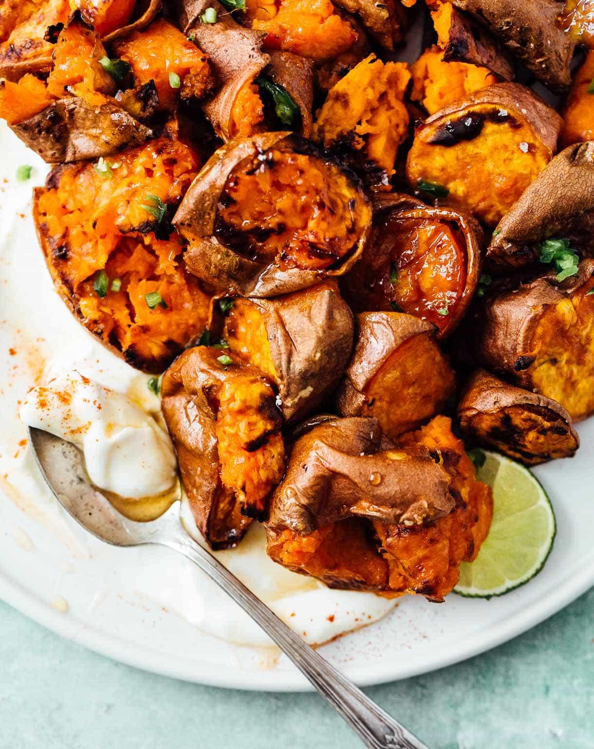 hot honey smashed sweet potatoes, oven roasted