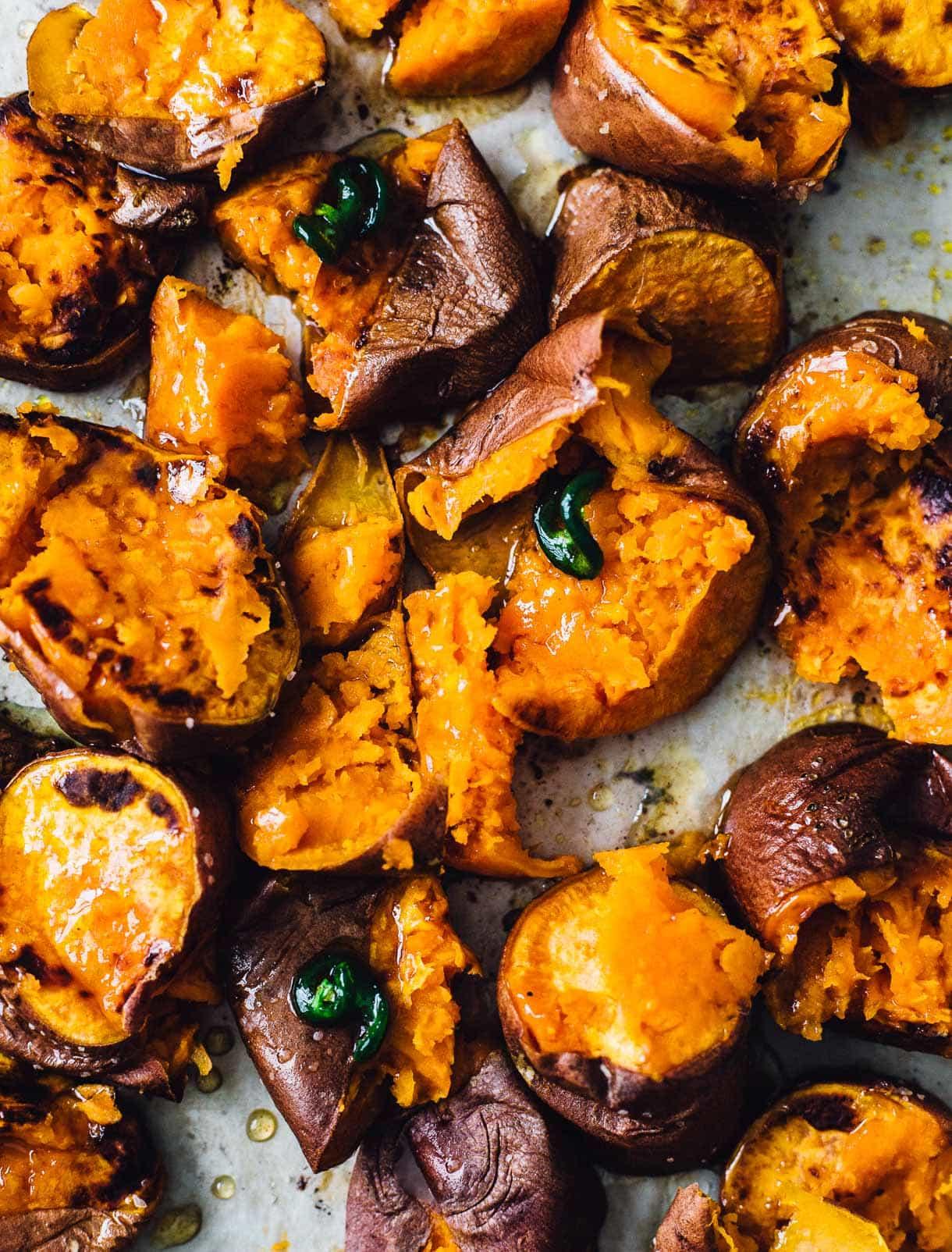 smashed hot honey sweet potatoes