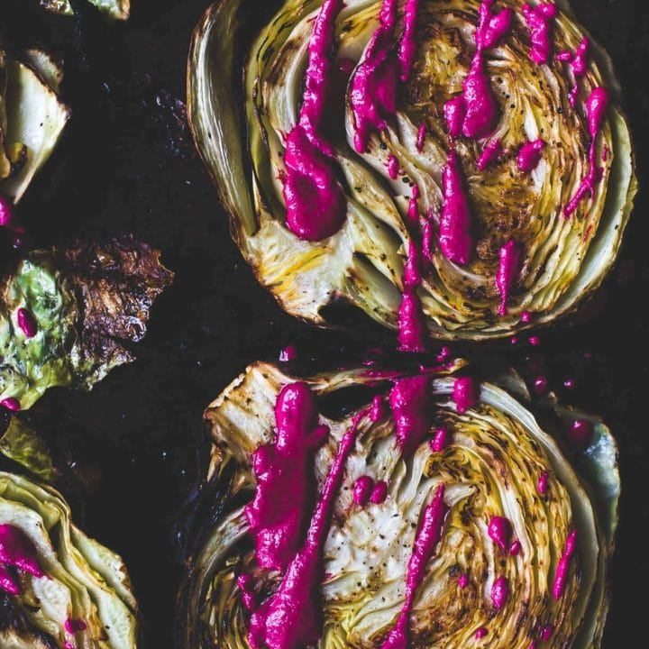 Roasted Cabbage Steaks with Garlicky Beet Sauce