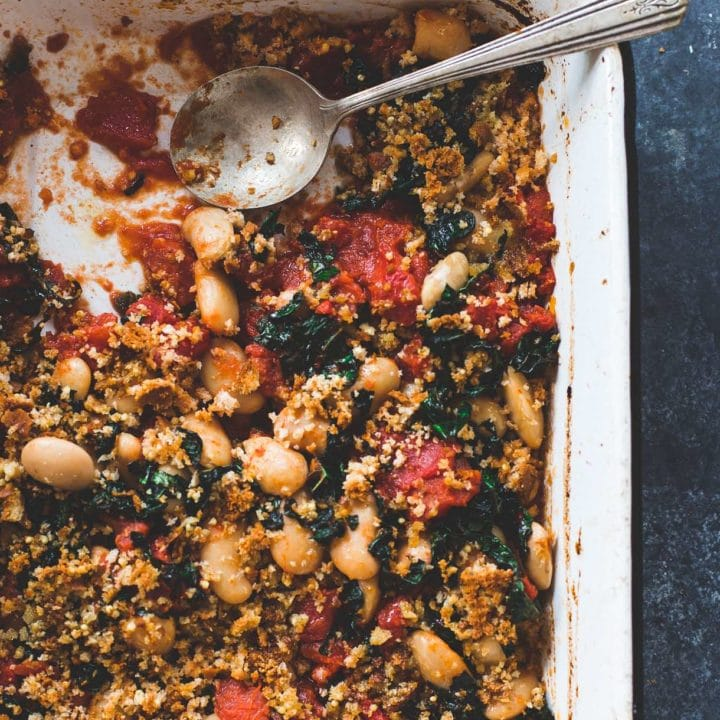 Gluten-Free Gratin with Butter Roasted Tomatoes, Beans, and Kale