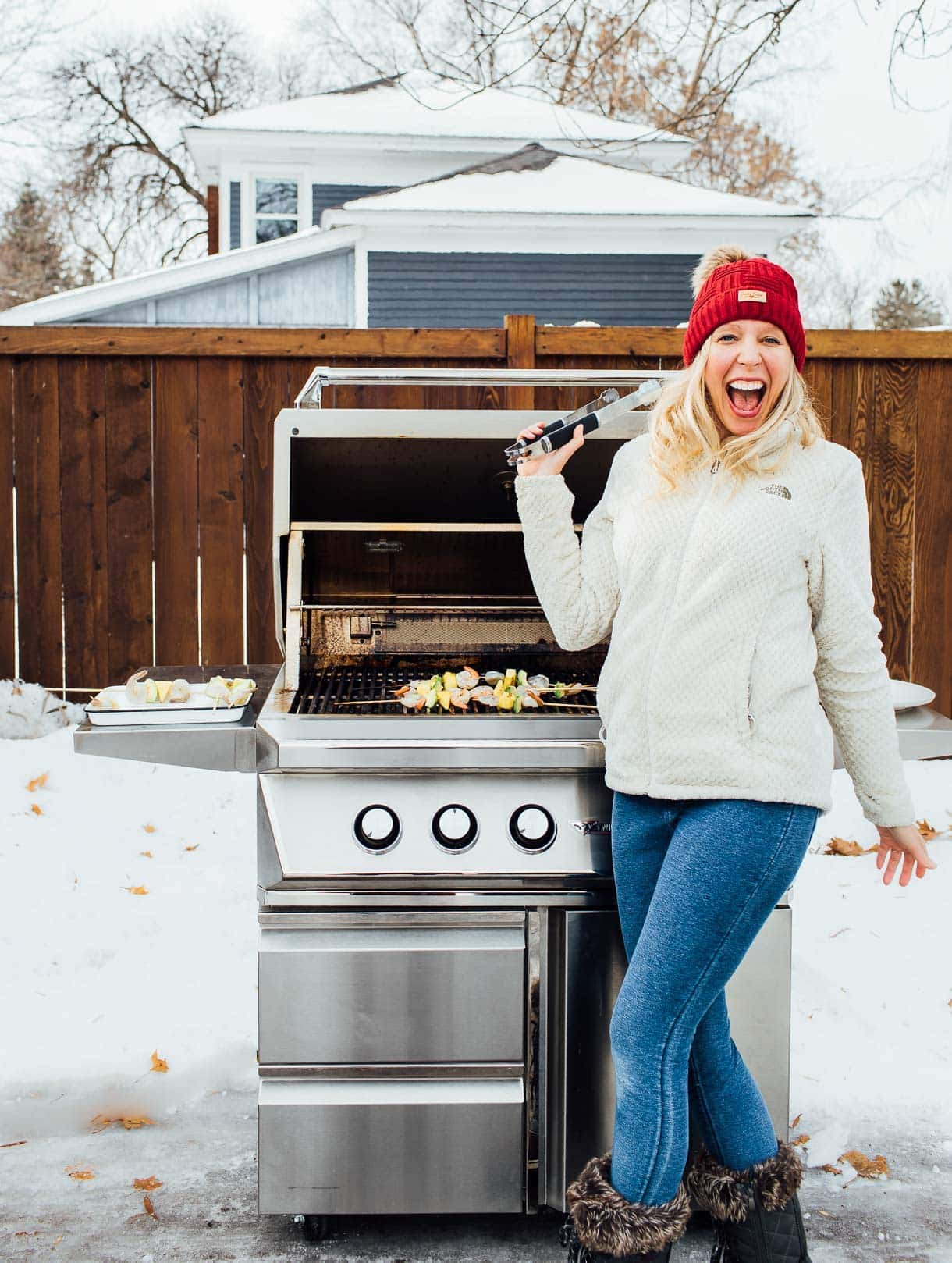 girl grilling outdoors in winter