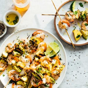 Citrus Sesame Grilled Shrimp Kabobs with Avocado and Pineapple