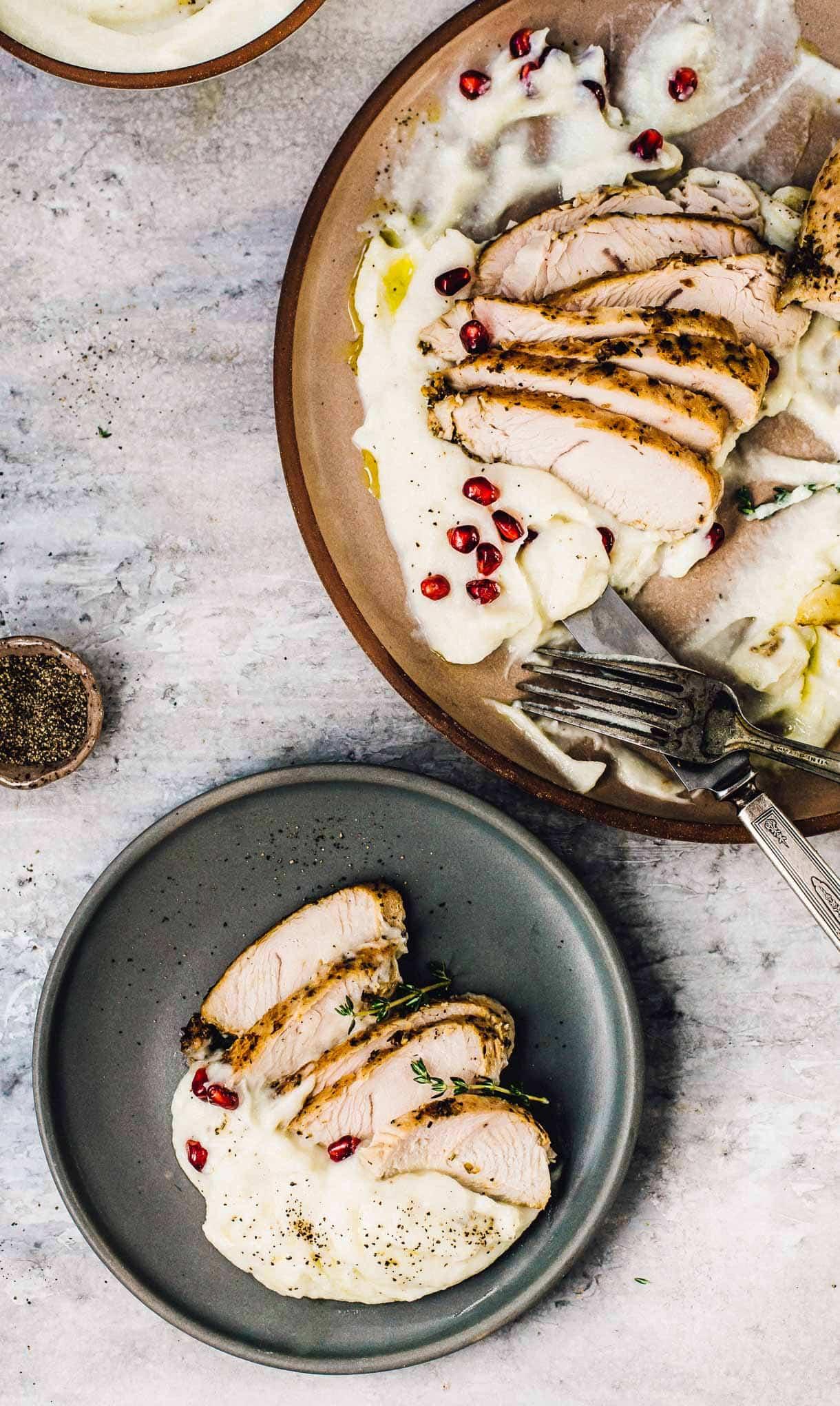 Marinated Turkey Breast Tenderloin served with garlic cauliflower puree