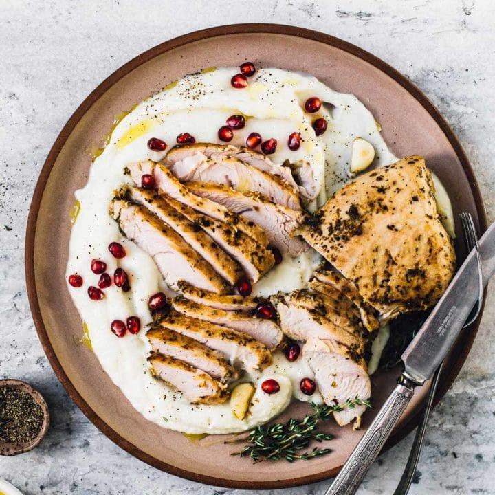 Marinated Turkey Breast Tenderloin with Garlic Cauliflower Puree