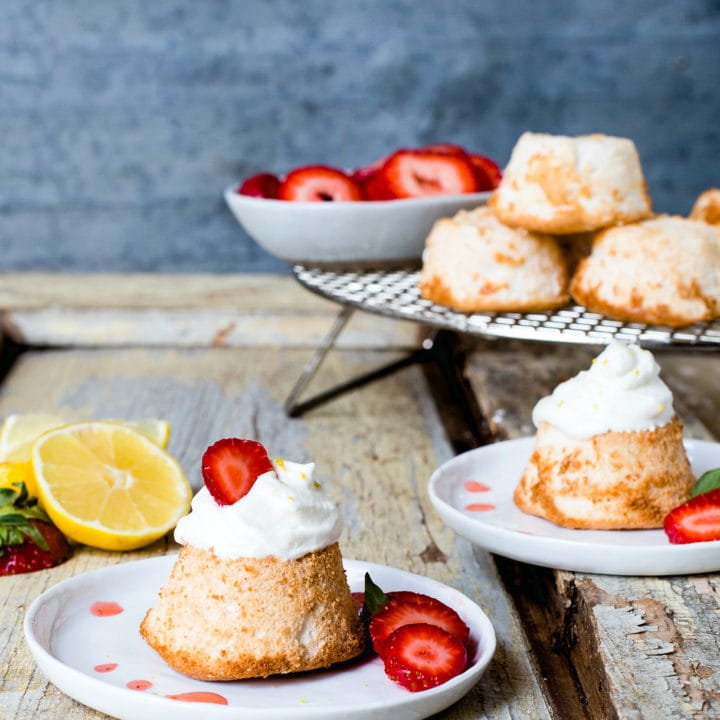 Mini Gluten-Free Angel Food Cakes with Strawberries