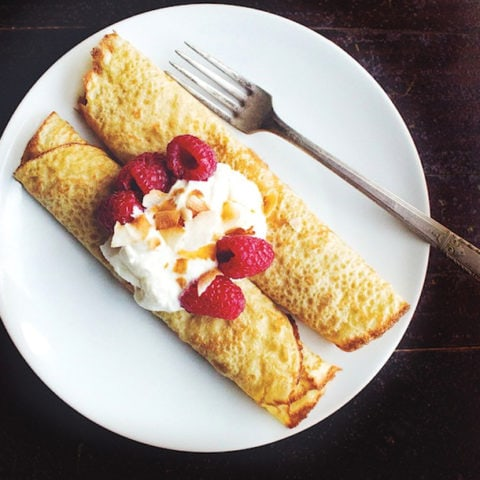 Gluten Free Oat Crepes with Raspberries