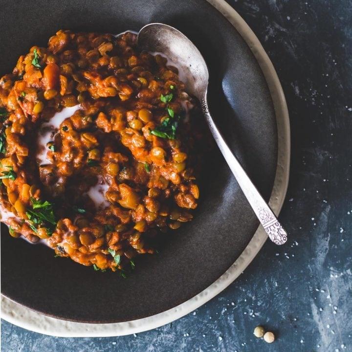 Smoky Tomato Lentils Cooked In Coconut Milk