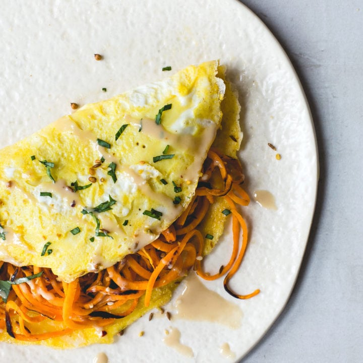 Two Egg Omelette with Za'atar Sweet Potato Noodles