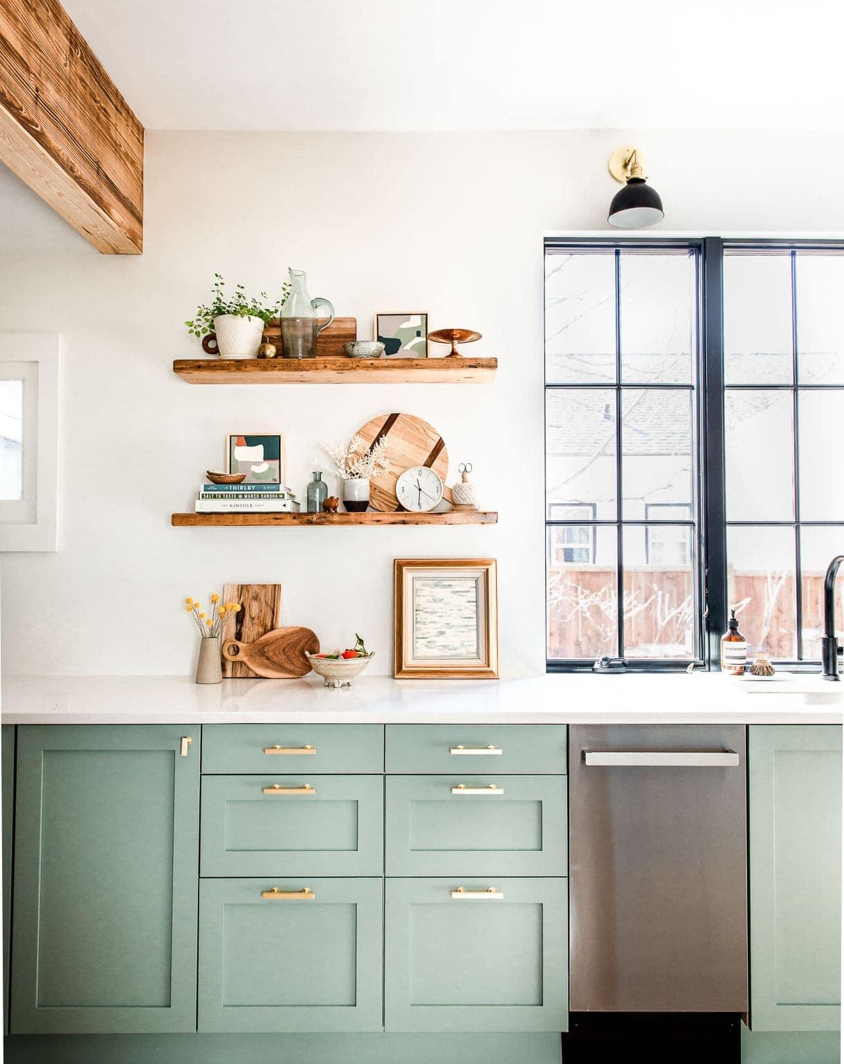 shelf vignette with reclaimed wood shelving