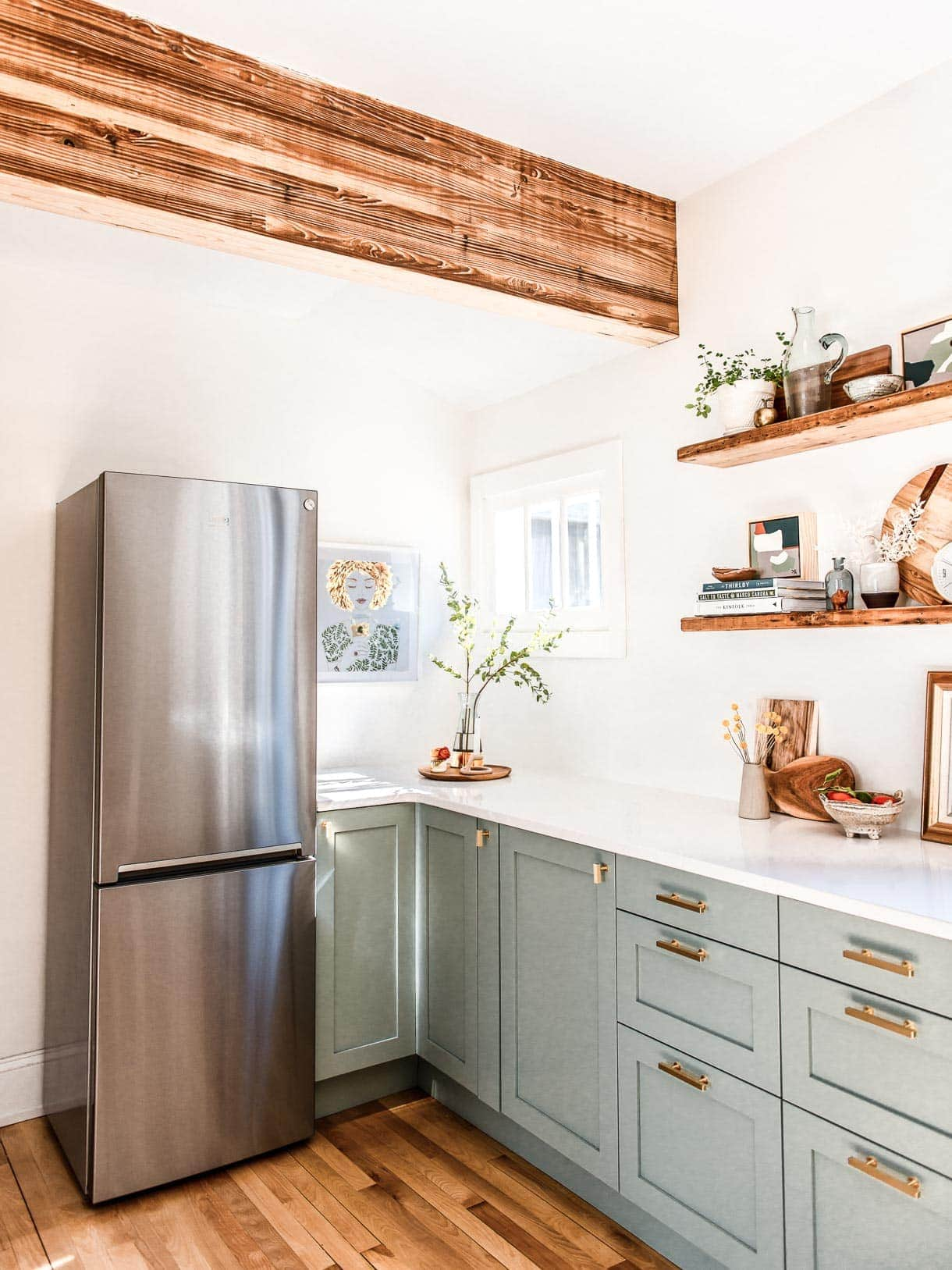 beko refrigerator, semihandmade DIY cabinets, corner kitchen nook