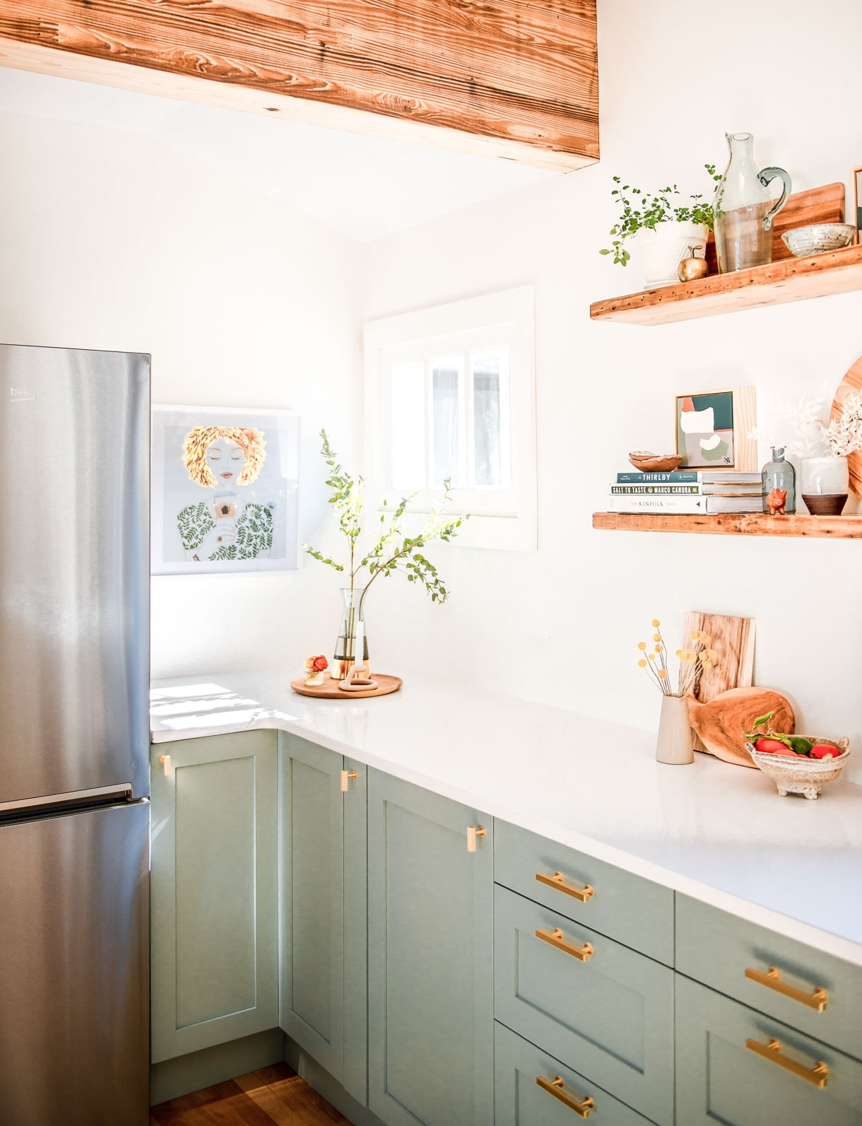 sage green kitchen cabinets, white kitchen