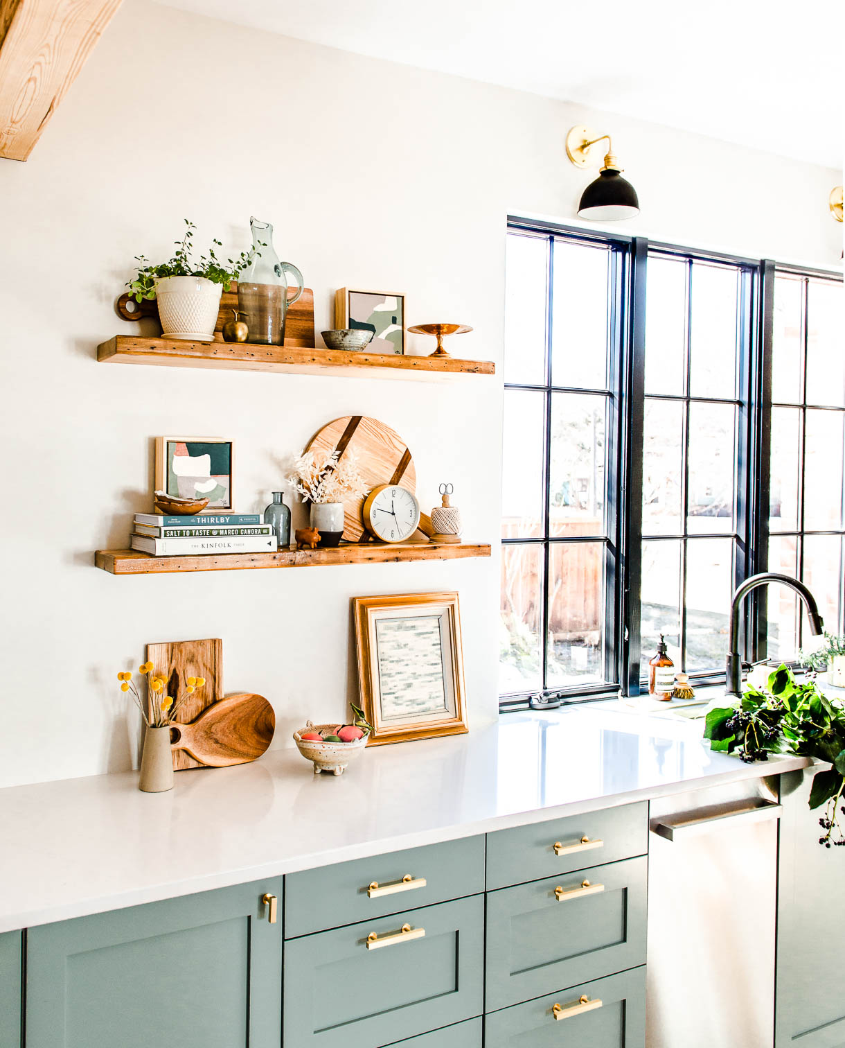 reclaimed wood shelves near frameless window in kitchen