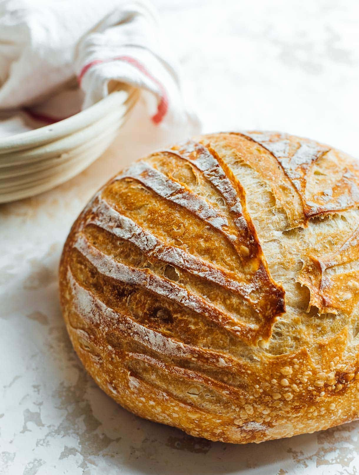round loaf of sourdough bread