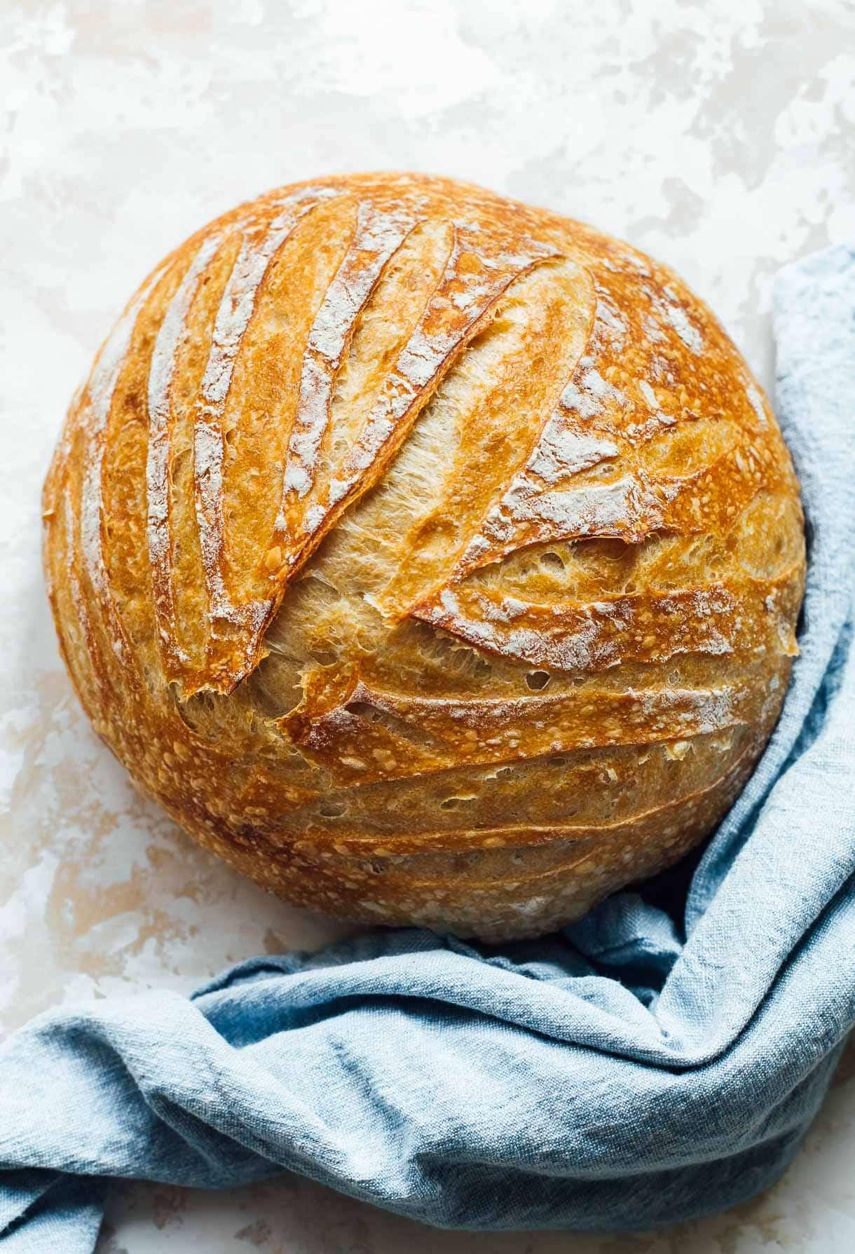 Sourdough Bread Boule with a linen