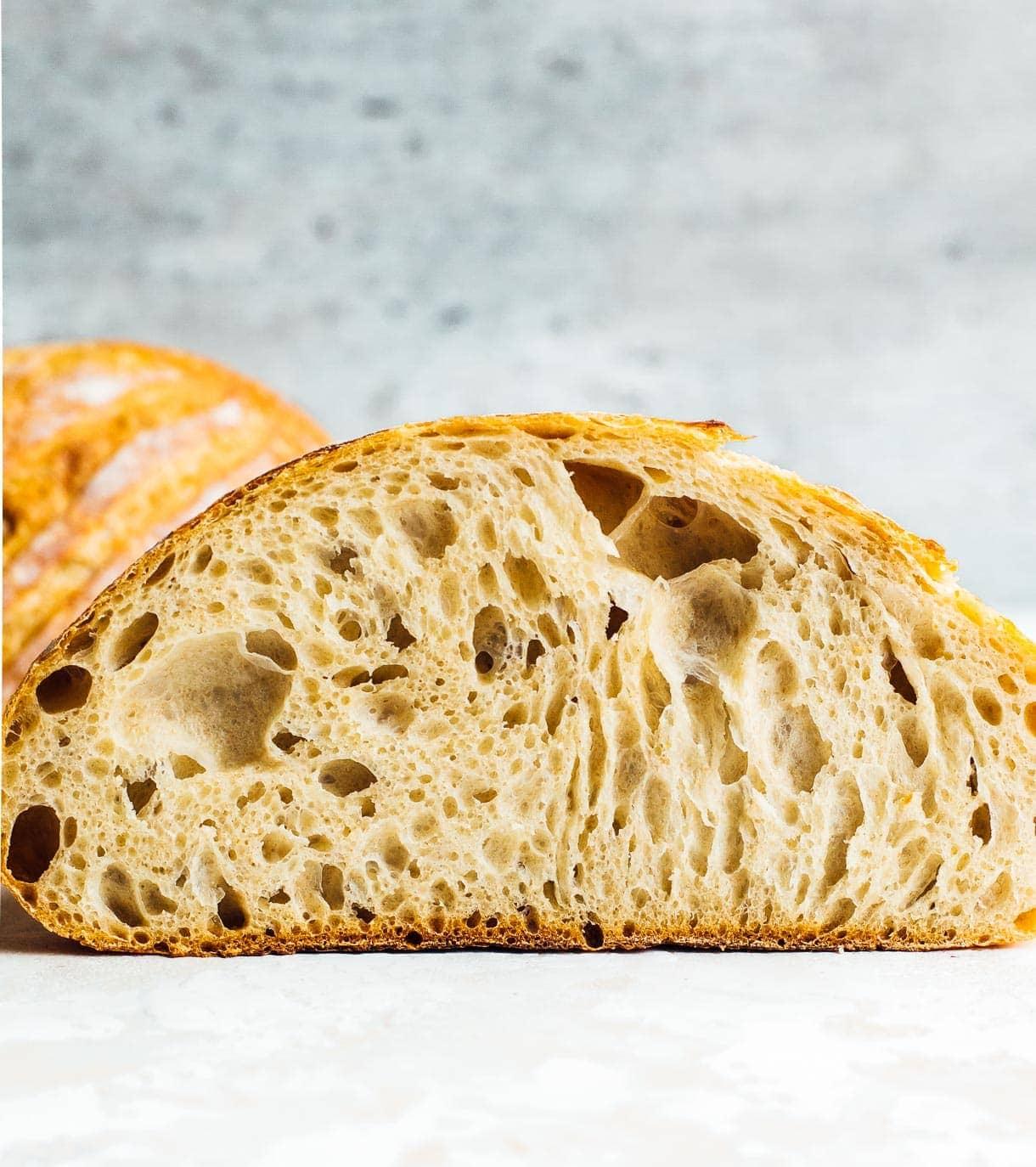 interior crumb of sourdough bread