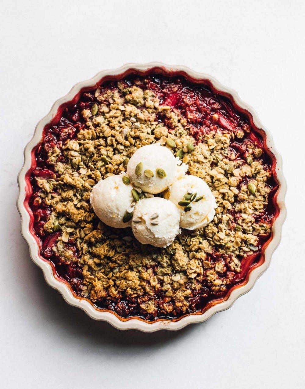 gluten free rhubarb crisp with vanilla ice cream