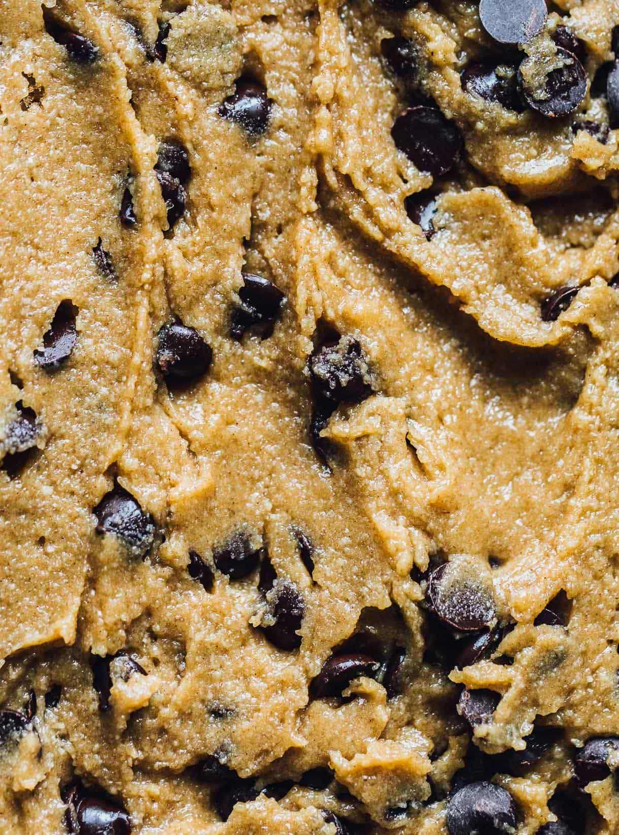 Tahini Chocolate Chip Cookie dough close-up