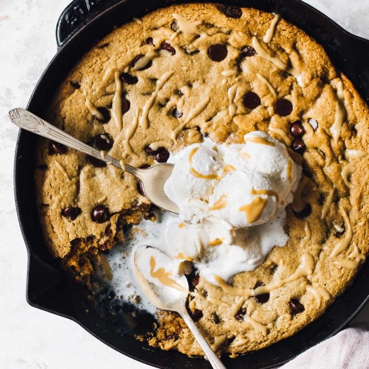 Tahini Chocolate Chip Skillet Cookie with vanilla ice cream