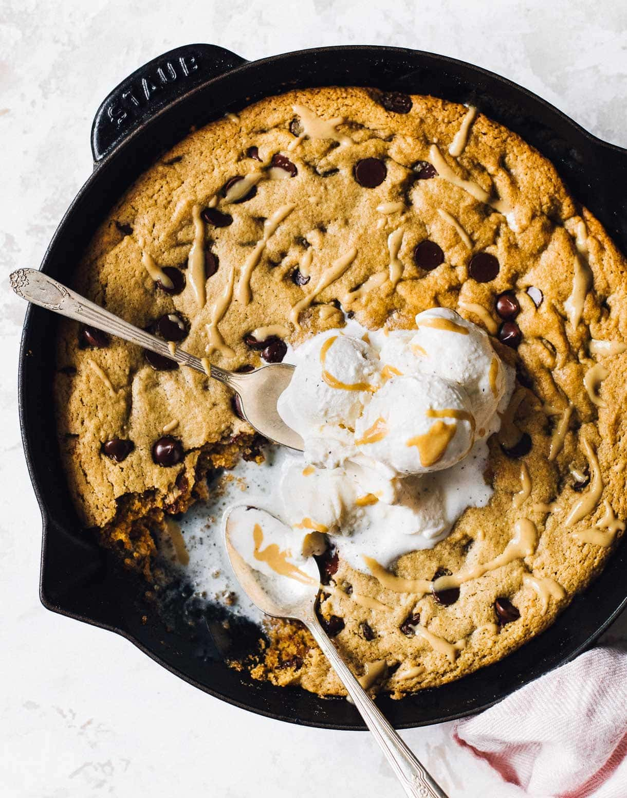 tahini chocolate chip skillet cookie with ice cream