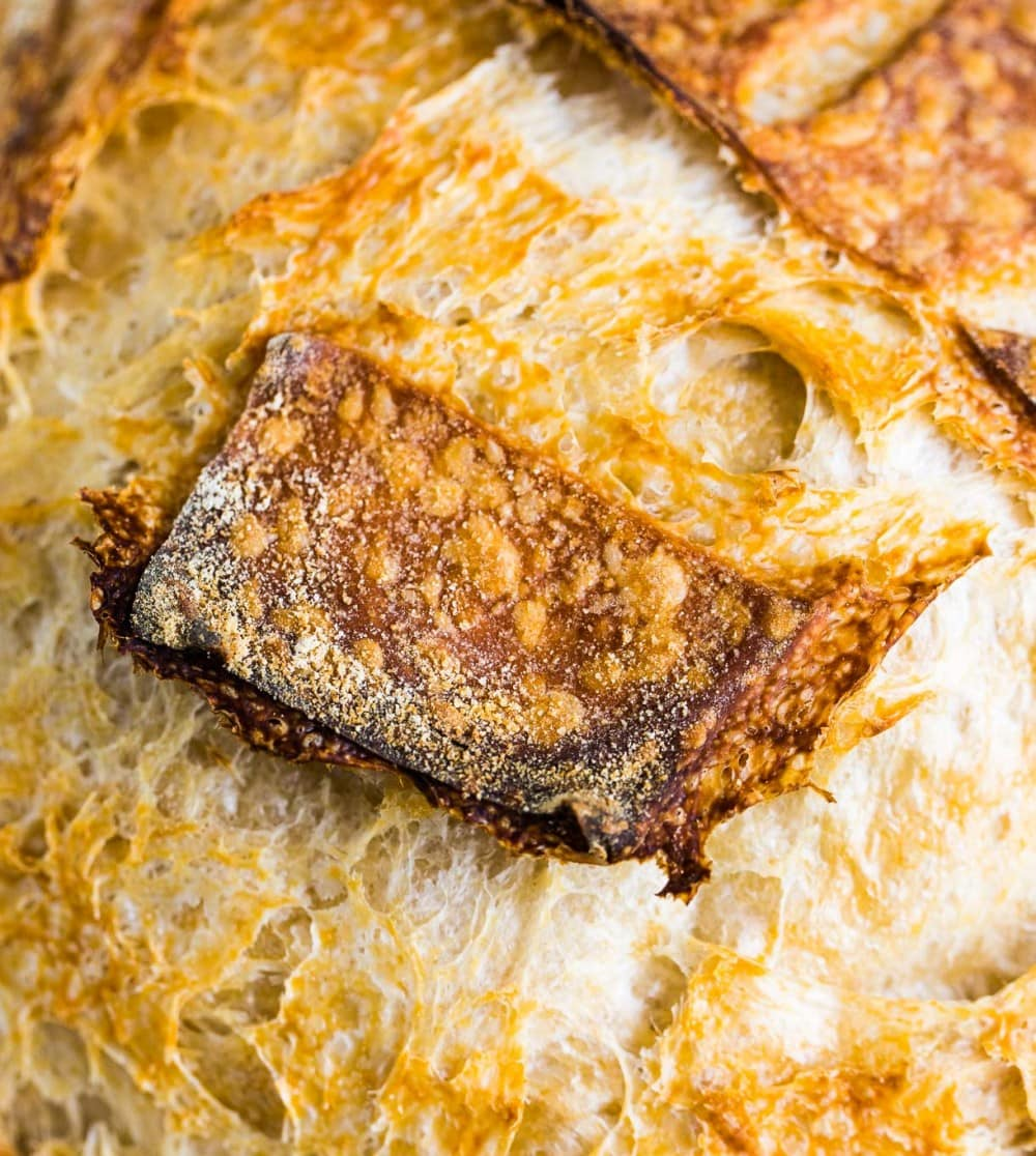 close up of sourdough bread