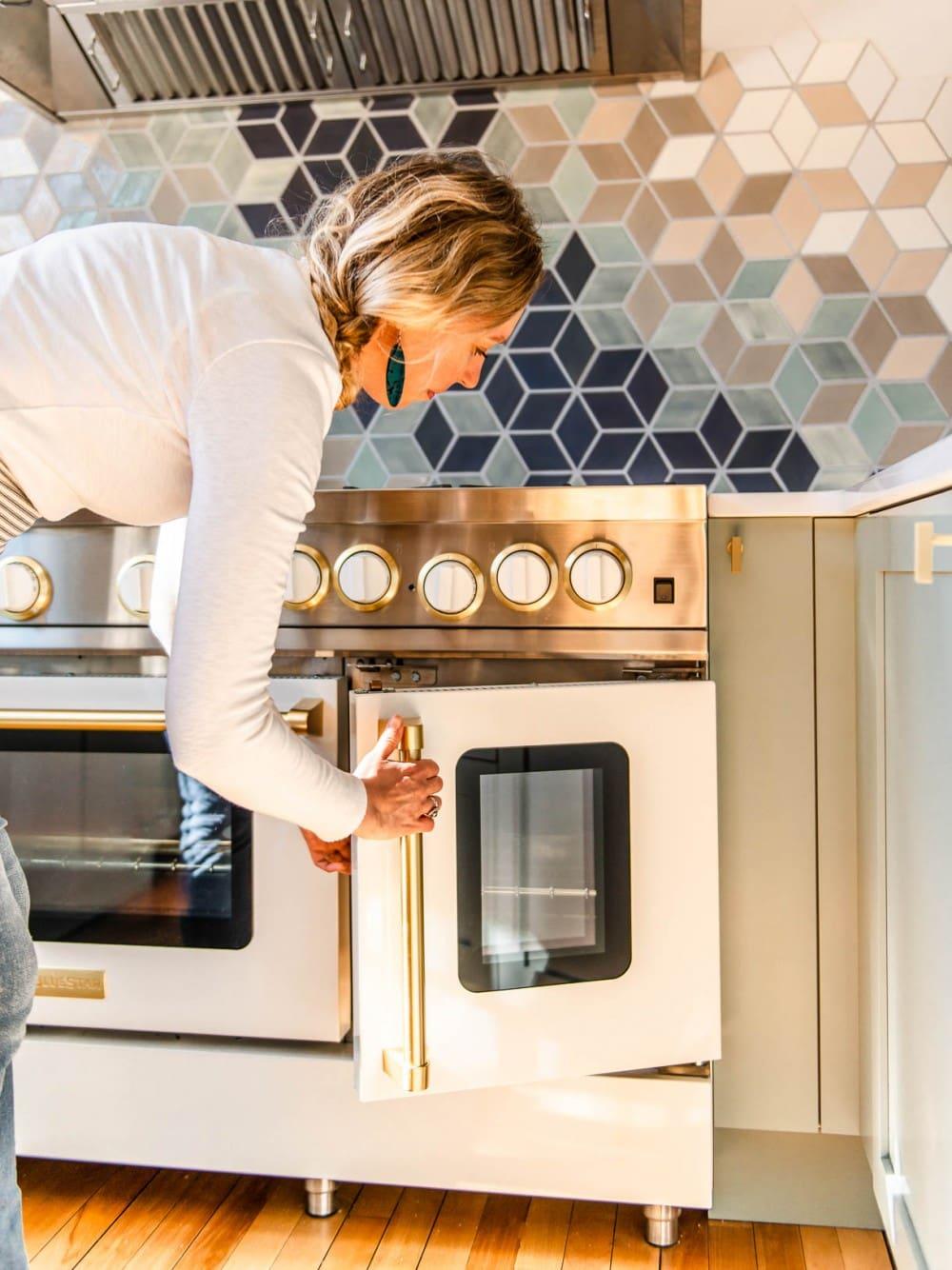 opening french door of oven