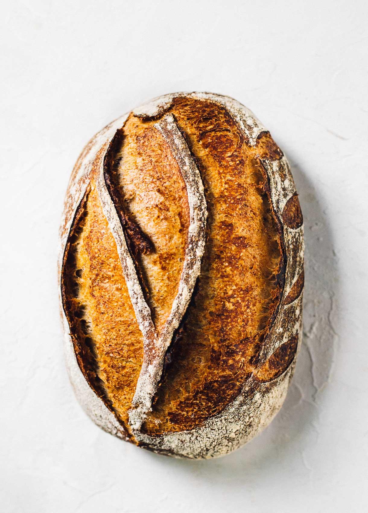 top down photo of rye sourdough bread