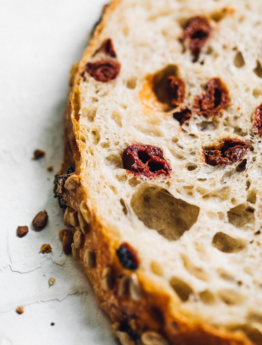 up close photo of tart cherry sourdough bread