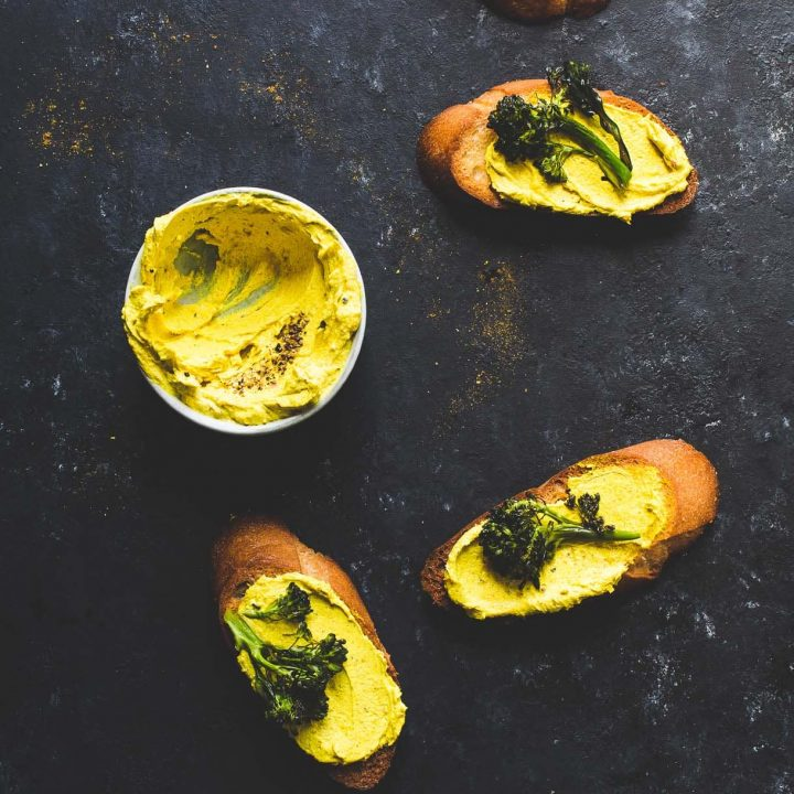 Golden Goat Cheese Crostini with Broccolini