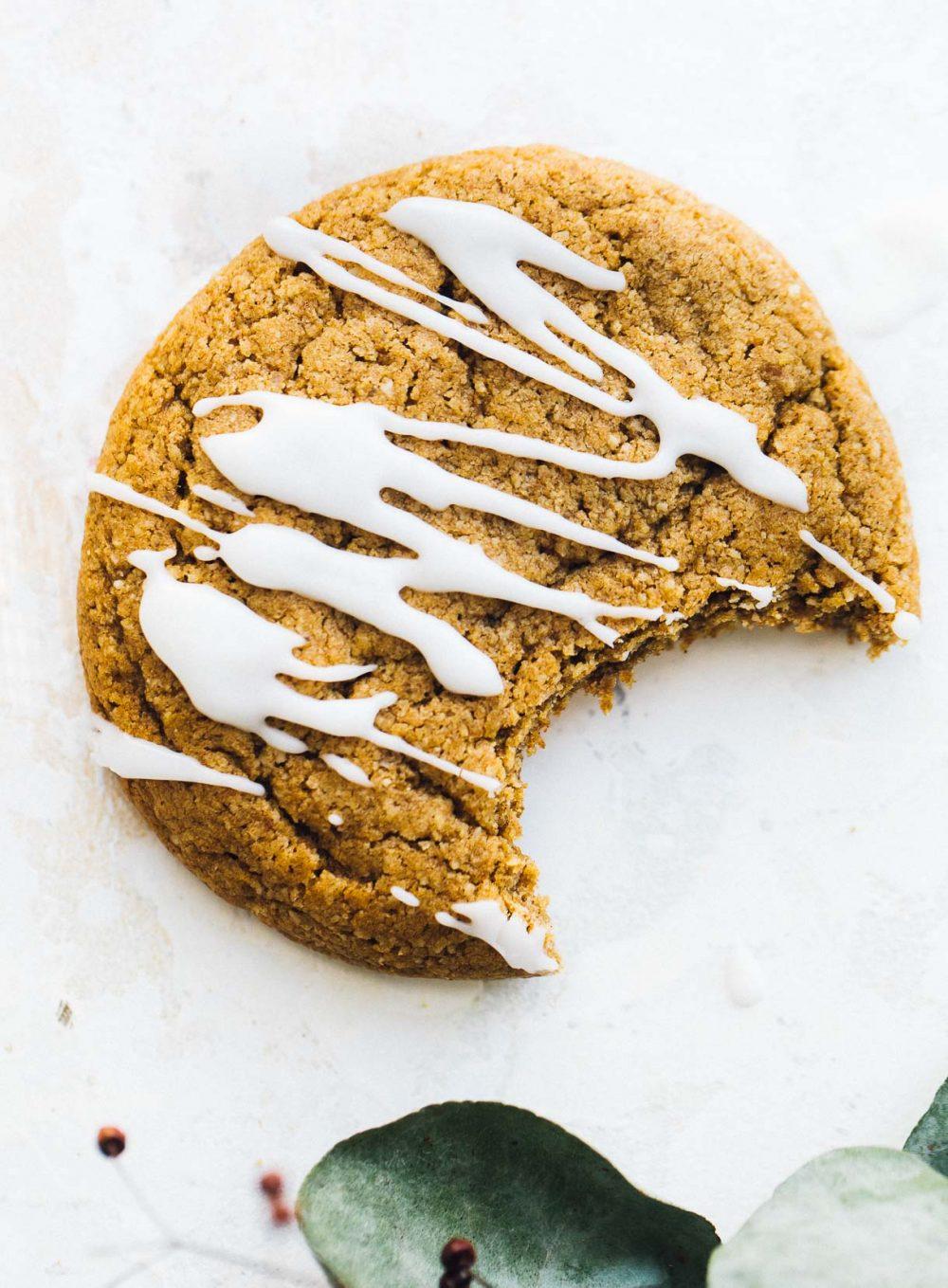 gluten-free pumpkin cookie with bite taken out of it
