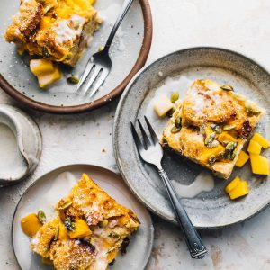 Sourdough Bread Pudding with Mango and Pumpkin Seeds