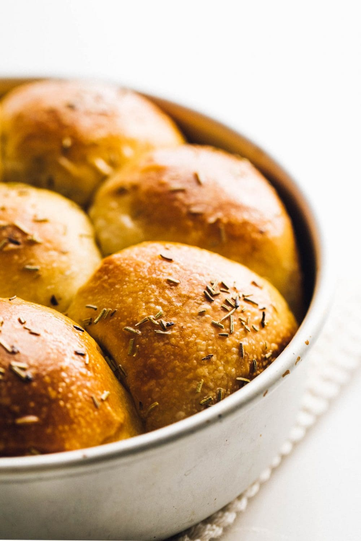 sourdough dinner rolls close up photo, in aluminum pan
